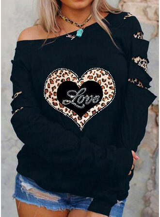 Leopard Sequins Figure Heart Round Neck Long Sleeves Sweatshirt