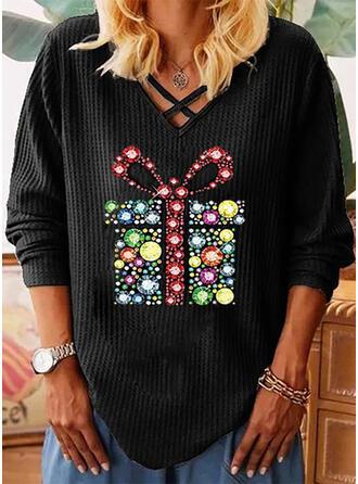 Pailletten V-hals Lange Mouwen Casual Kerstmis Breiwerk Overhemd