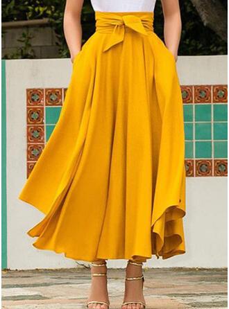 Cotton Blends Plain Maxi Pleated Skirts