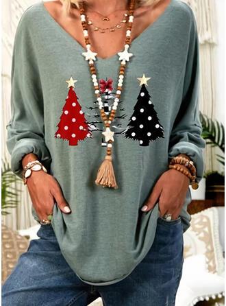 Print V-hals Lange Mouwen Kerstmis T-shirts