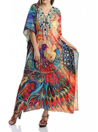Print V-hals Aantrekkelijk Het oog Springende Casual Badjassen Badpakken