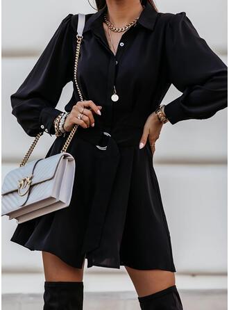 Solide Lange Mouwen A-lijn Boven de knie Zwart jurkje/Casual Shirt/Schaatser Jurken