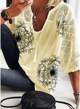 Print Dandelion V-Neck 3/4 Sleeves Casual Blouses