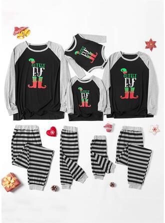 Letter Streep Print Voor Gezinnen Kerst Pyjamas