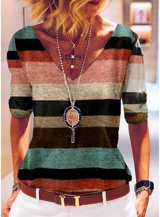Color Block V-Neck 1/2 Sleeves T-shirts