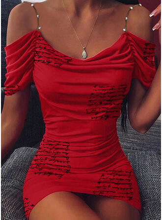 Print/Beaded/Letter Short Sleeves Bodycon Above Knee Party Dresses