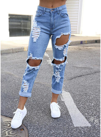 Shirred Plus Size Ripped Sexy Vintage Denim & Jeans