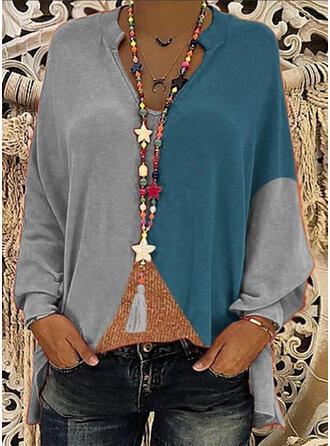 Kleurblok V-hals Lange Mouwen Casual Overhemd