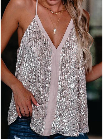 Sequins Spaghetti Strap Sleeveless Casual Sexy Tank Tops