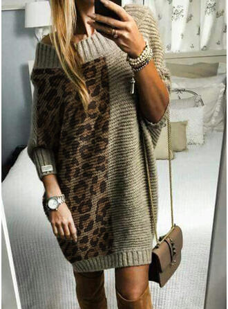 Color Block/Leopard Long Sleeves Shift Above Knee Casual Sweater Dresses