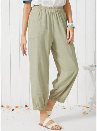 Solid Plus Size Casual Plain Lounge Pants