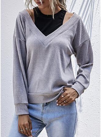 Solide Cold Shoulder Lange Mouwen Casual Overhemd