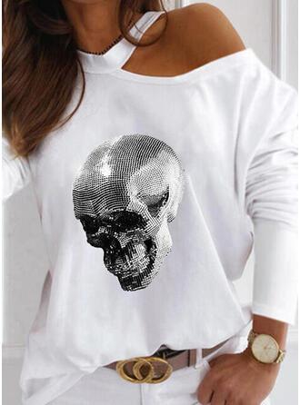Pailletten One Shoulder Lange Mouwen Casual Overhemd