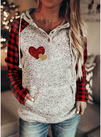 Grid Sequins Heart Long Sleeves Hoodie