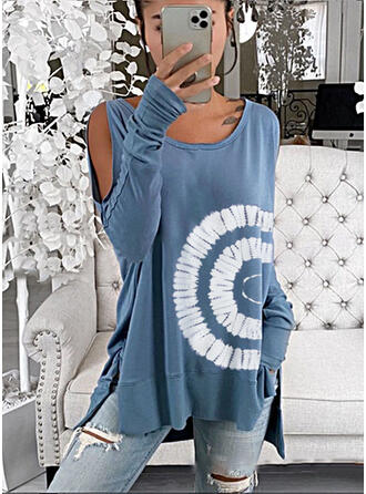 Print Cold Shoulder Long Sleeves Sweatshirt