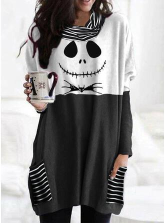 Halloween Color Block Print Striped Animal Band Collar Long Sleeves T-shirts
