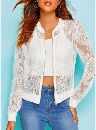 Cotton Blends Long Sleeves Plain Jackets