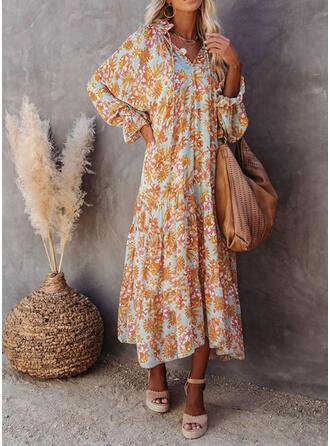 Print/Floral Long Sleeves Shift Casual/Vacation Maxi Dresses