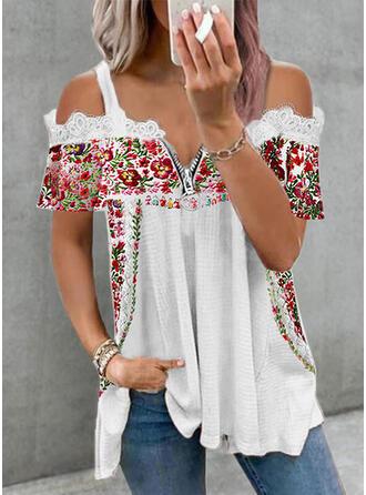 Floral Print Lace Cold Shoulder Short Sleeves T-shirts