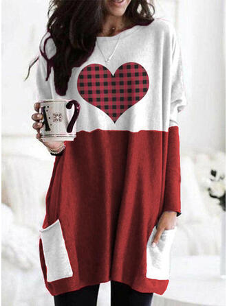 Color Block Grid Round Neck Long Sleeves Sweatshirt