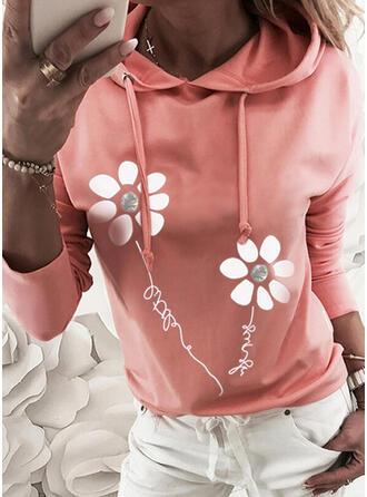 Print Floral Sequins Figure Long Sleeves Hoodie
