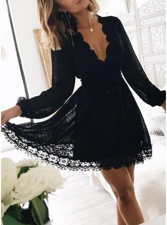 Lace/Solid Long Sleeves A-line Above Knee Little Black/Party/Elegant Skater Dresses