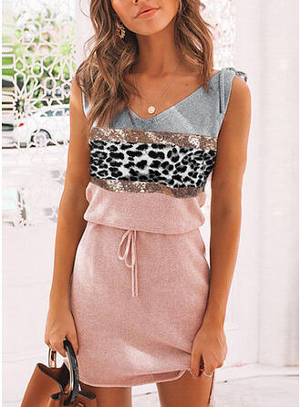 Print/Color Block/Leopard Sleeveless Sheath Above Knee Casual Dresses