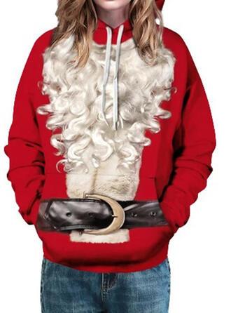 Dames katoenblends Print Kerst Sweatshirt