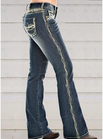 Shirred Plus Size Elegant Sexy Skinny Denim & Jeans