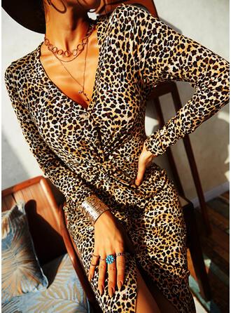 Leopard Long Sleeves Sheath Knee Length Casual Dresses