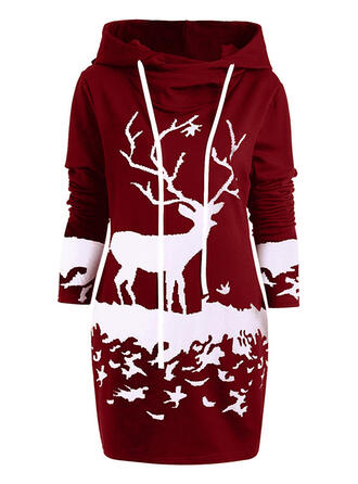 Animal Print Long Sleeves Sheath Above Knee Christmas/Casual Sweatshirt Dresses