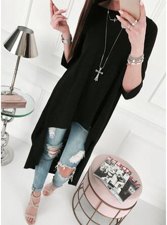Solide Lange Mouwen Shift Asymmetrische Zwart jurkje/Casual Tunieken Jurken