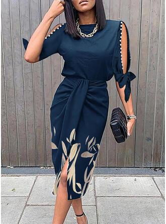 Print/Floral 1/2 Sleeves Cold Shoulder Sleeve Sheath Knee Length Elegant Dresses