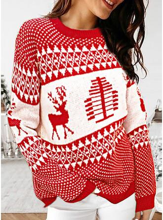 Dierenprint Ronde Hals Casual Kerstmis Truien