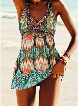 Floral Print Halter Sexy Boho Swimdresses Swimsuits