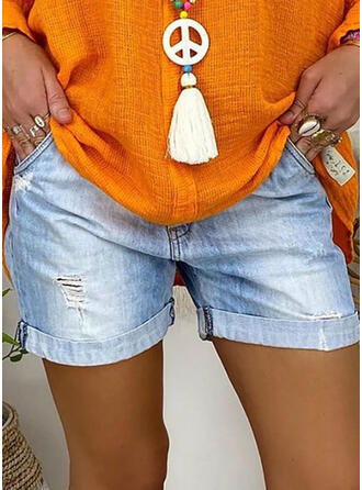 Denim Above Knee Casual Ripped Pants Shorts Denim & Jeans