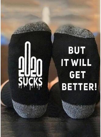 Letter/Print Christmas/Crew Socks/Unisex Socks