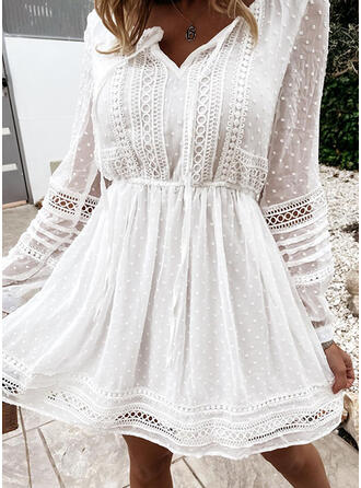 Lace/Solid/Hollow-out Long Sleeves A-line Above Knee Casual Skater Dresses