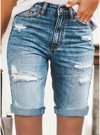 Solid Denim Above Knee Casual Plus Size Pocket Shirred Ripped Button Pants Shorts Denim & Jeans
