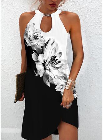 Print/Floral/Color Block Sleeveless Shift Above Knee Dresses