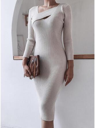 Solide Lange Mouwen Bodycon Potlood Elegant Medium Jurken