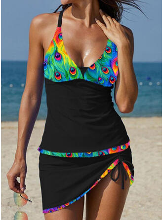 Print Strap U-Neck Plus Size Boho Tankinis Swimsuits