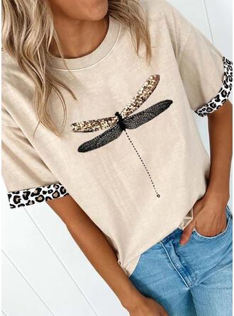 Animal Print Leopard Round Neck Short Sleeves T-shirts