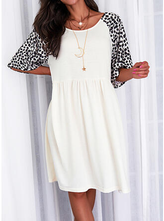 Print/Leopard 1/2 Sleeves Shift Knee Length Casual Tunic Dresses