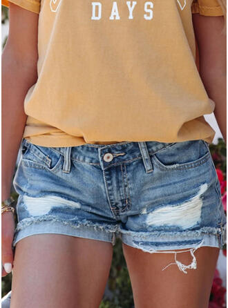 Solid Denim Casual Ripped Pants Shorts Denim & Jeans