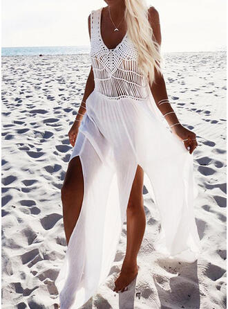 Solid Sleeveless Shift Vacation Maxi Dresses