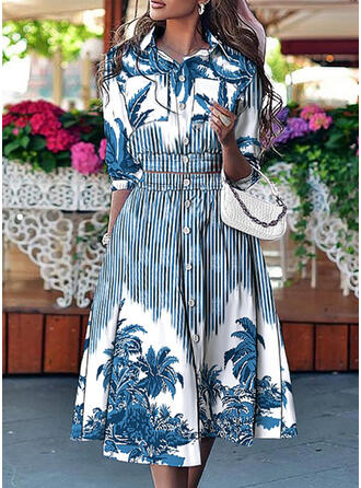 Forest Striped Print Elegant Plus Size Blouse & Two-Piece Outfits Set