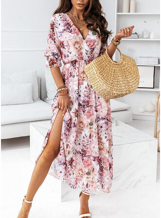 Print/Floral Chiffon 1/2 Sleeves A-line Skater Casual/Vacation Maxi Dresses