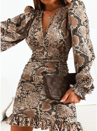 Print Long Sleeves Sheath Above Knee Elegant Dresses