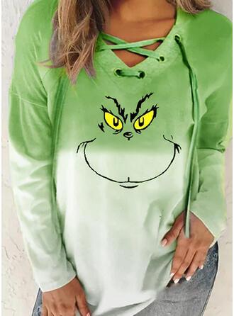 Print V-hals Lange Mouwen Kerst Sweatshirt